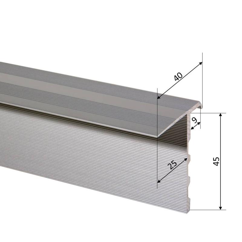 1300 mm, Gold Aluminium eloxiert Trepsa Treppenkantenprofil Profil 1 mit Abschluss-Clip